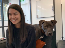 Melanie Perkins with her dog