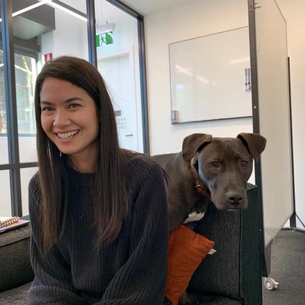 Melanie Perkins with her dog