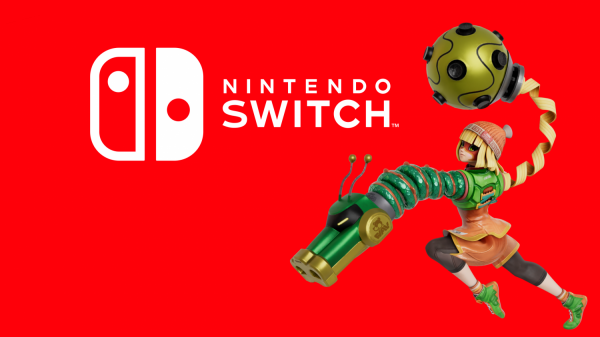 Nintendo Switch logo with Min Min from ARMS