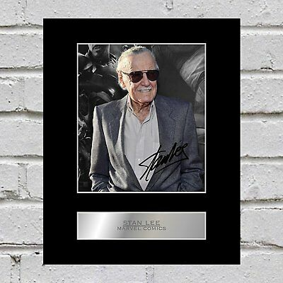 Stan Lee Signed Mounted Photo Display Marvel Comics #01 Autographed Gift Picture Print