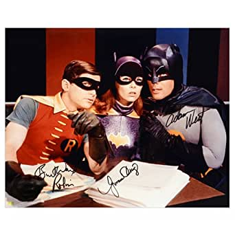 Adam West, Burt Ward and Yvonne Craig Autographed Batman 16x20 Master Plan Photo