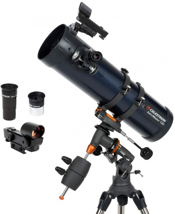 Celestron - AstroMaster 130EQ Newtonian Telescope - Reflector Telescope for Beginners - Fully-Coated Glass Optics - Adjustable-Height Tripod - BONUS Astronomy Software Package