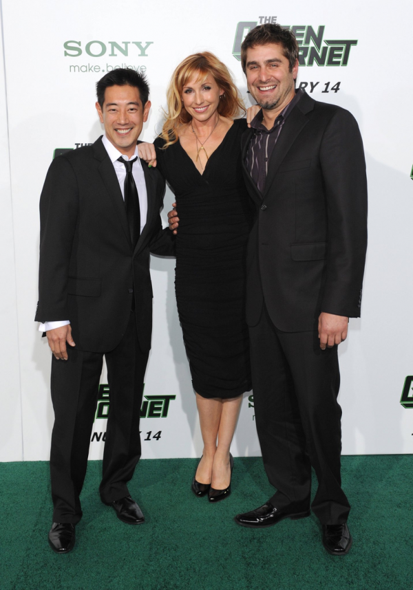 Grant Imahara with Kari Byron and Tory Belleci