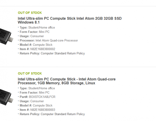 Intel Compute Stick sold out on Newegg