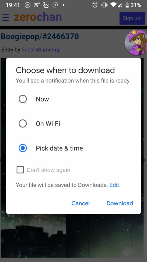 Google Chrome Canary Download Scheduling Pop-up