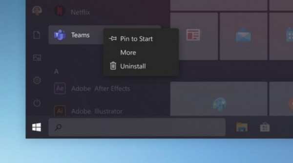 Windows 10 Start Menu with curved corners