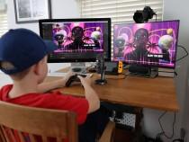 Kid playing Fortnite