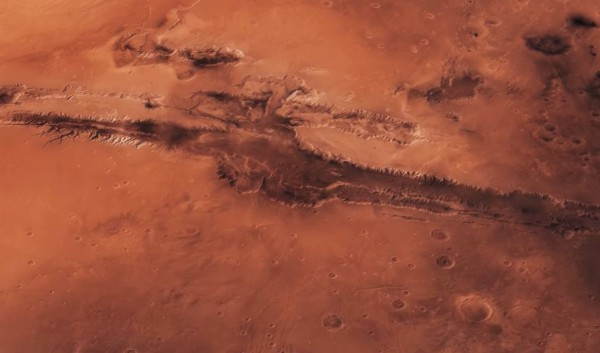Mars' aerial view of its surface