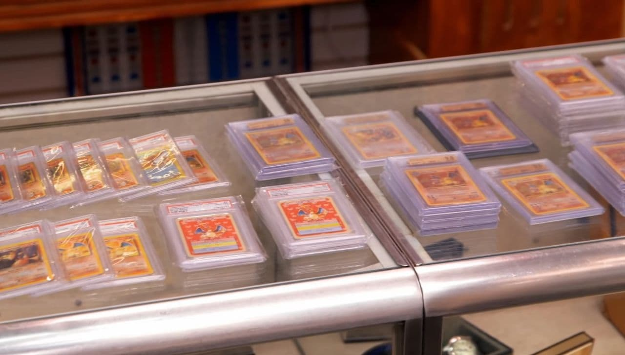 A bunch of Charizard Pokemon Cards