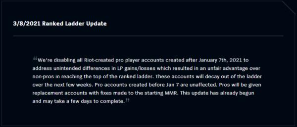 Riot Disables League of Legends Pro Accounts-- Unfair LP Gains Over Regular Players Discovered