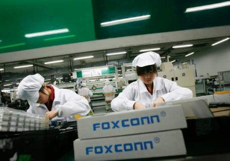Workers at a Foxconn factory