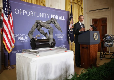President Obama Speaks About Manufacturing Innovation Institutes In East Room Of White House