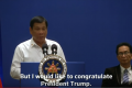 'Long live Trump' - Philippines' Duterte says wants no more quarrels with U.S.