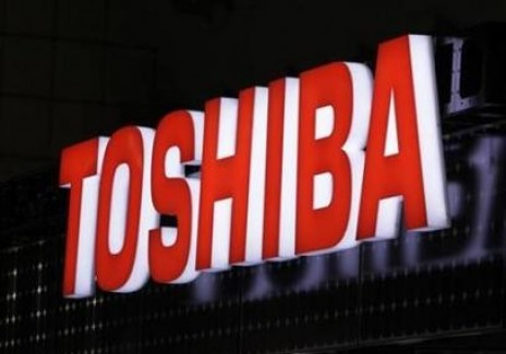 A view shows Toshiba Corp's logo at the fourth International Photovoltaic Power Generation (PV) Expo in Tokyo.