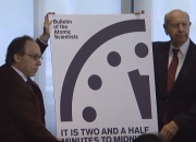 The Doomsday clock moves forward, placing us now 30 minutes closer to apocalypse . The Bulletin of the Atomic Scientists (BPA) moved the minute hand of the symbolic Doomsday Clock from three minutes to two-and-a-half minutes to midnight, a move that has not been done in 70 years.
