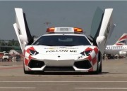 A Lamborghini Aventador has been made as a follow-me car in Bologna's Guglielmo Marconi Airport. The Lamborghini has been made to guide several air crafts from the runway up to its parking point.