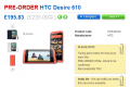 HTC Desire 610 pre-order page on Clove UK