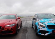 Two premiere sedans, the Mercedes A45 AMG and Alfa Romeo Giulia, face each other in a drag race to see which one is faster.