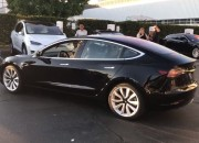 Elon Musk showed off the very first Tesla Model 3 unit on Twitter and Instagram.