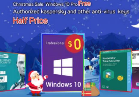 Christmas sale: get Windows 10 Pro free and McAfee Antivirus and other anti-virus keys  half price