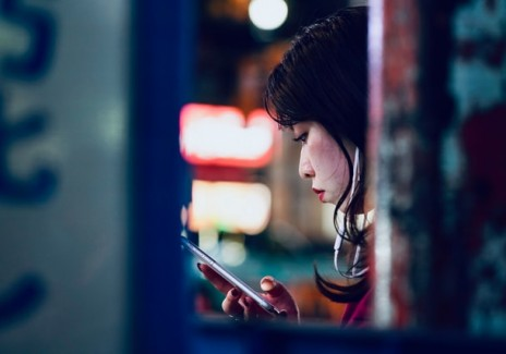 Japanese lady on her phone
