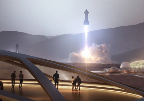 Artist rendering of the Starship taking off from Mars
