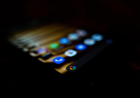 An Android phone in the dark