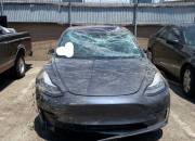 A driver met a huge accident but luckily, he was driving a Tesla.